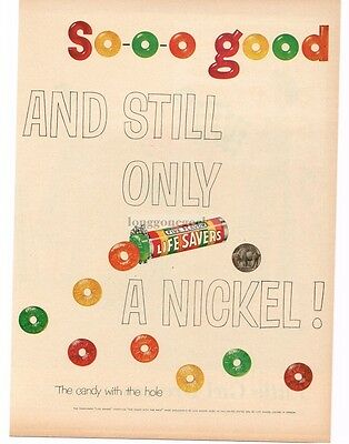 1954 LIFE SAVERS Sooo Good and Still A Nickel art VTG PRINT AD