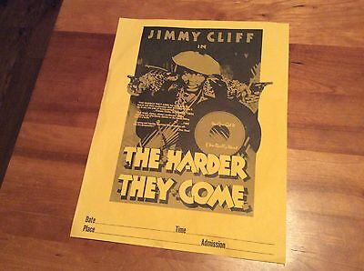 JIMMY CLIFF: Vintage Show flyer for the Premier of THE HARDER THEY COME.