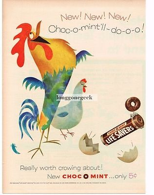 1956 Life Savers Choc-O-Mint Rooster Chicken Broken Egg art Vtg Ad