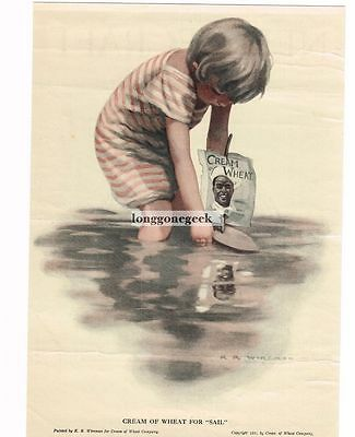 "1919 Cream Of Wheat ""For Sail"" K. R. Wireman art Vtg Print Ad"