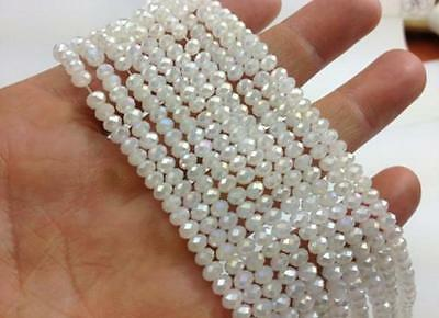 1000pcs 4x6mm white jade AB crystal faceted gems Rondelle spacer Loose Beads AAA