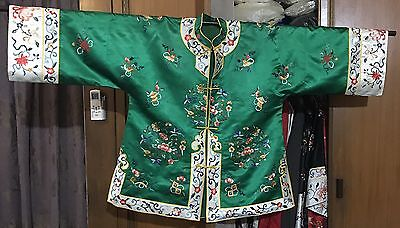 "Antique Chinese Hand Embroidery Robe Jacket Good Condition Chest 44""Lengths 28"""