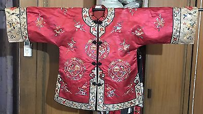 Vtg Chinese Hand Embroidered Female Flowers Dress Asian kimono jacket Silk Robe