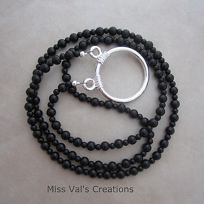 Handcrafted black obsidian silver reading eyeglass loop chain holder necklace