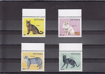 Timbre Stamp  4  Guyana Y&t#2782-85 Chat Cat Felin Neuf**/mnh-Mint 1992 ~A07