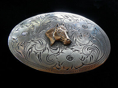 Awesome STERLING SILVER Western Horse Hand Engraved BELT BUCKLE 56.2 grams