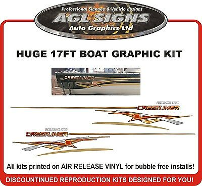 Huge Boat Graphic & Stripe fits Crestliner Fish Hawk 1750  Sportfish