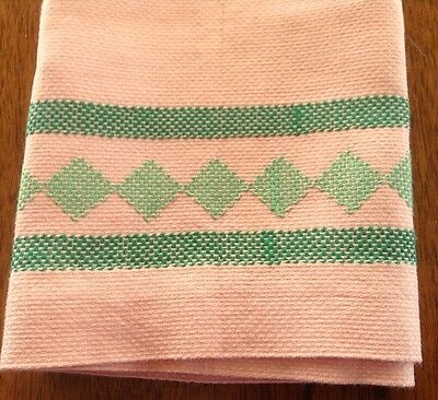 Swedish Weaving Peach Linen Towel, Green Embroidery, Huck Towel