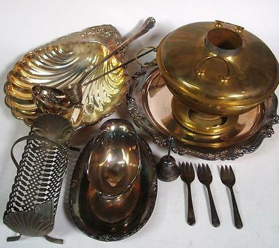 Lot of Vintage Unpolished Silver Plate and Metalware Serving Pieces