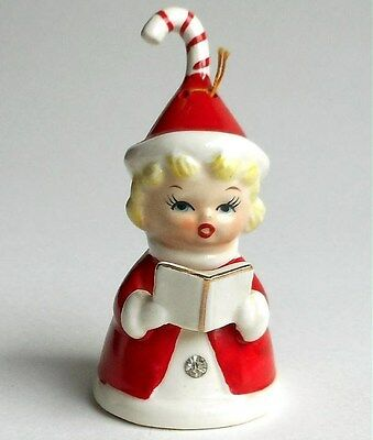 Vintage Fine A Quality Japan Christmas Caroler Bell Girl Figurine Candy Cane Hat
