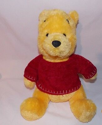 """Disney Store Winnie The Pooh Bear Red Embroidered Sweater 12"""" Plush Stuffed"""