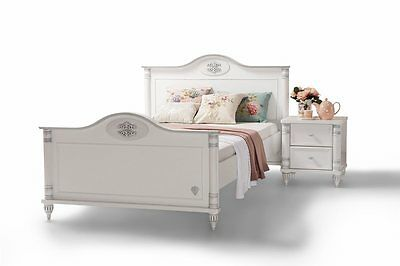 m dchen jugendbett 120x200 romantic kinderzimmer wei picclick de. Black Bedroom Furniture Sets. Home Design Ideas