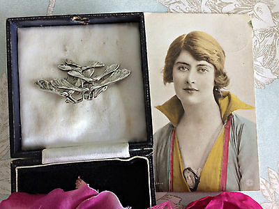 Antique Vintage Art Nouveau Silver Tone Large Sycamore Maple Seed Pod Brooch Pin