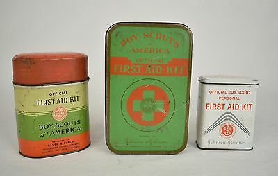 Boy Scouts Of America First Aid Kits Tins Lot Of 3 Vintage