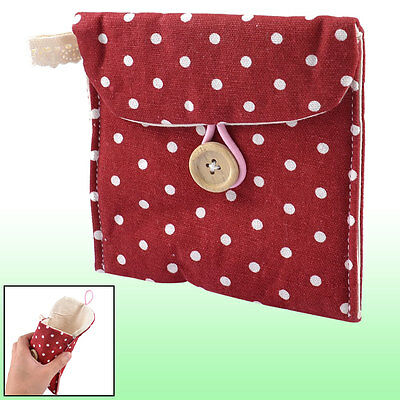 Women Rectangle Dotted Sanitary Towel Holder Bag Button Pouch Burgundy White