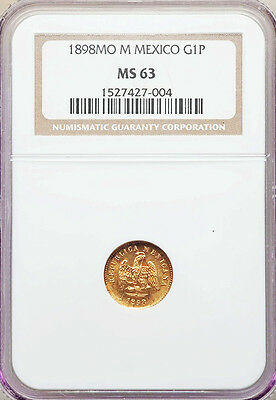 1898 MO M Gold Mexico 1 Peso Second Republic Coin NGC Mint State 63 Minted:5,368