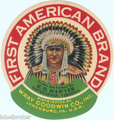 American Indian Crate Can Product Label Advertising War War Bonnet Virginia