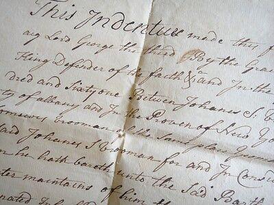 1761 antique COLONIAL DEED SCHENECTADY ALBANY NY handwritten VROOMAN indenture