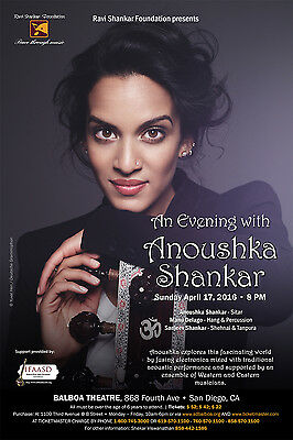 ANOUSHKA SHANKAR 2016 SAN DIEGO CONCERT TOUR POSTER- Indian Classical, Crossover