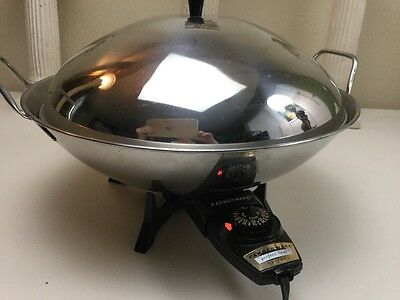 "Vintage Farberware Electric Wok Model 303 Stainless Steel 14"" Works Fast Heat!"