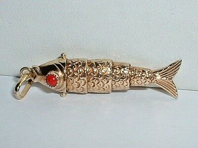 VINTAGE 14k YELLOW GOLD 3D MOVEABLE FISH PENDANT CHARM