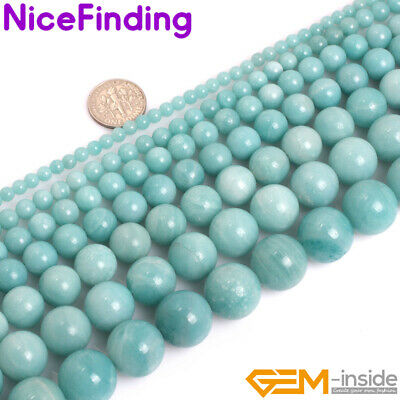 """Natural AAA Blue Amazonite Round Gemstone Loose Beads Lot For Jewelry Making 15"""""""