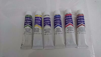 Reeves Oil Colours - Set of 6 12ml Tubes with Canvas and Palette