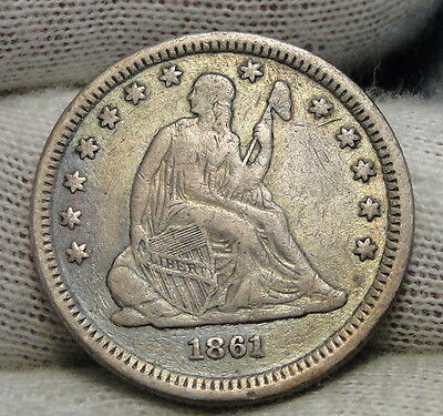 1861 Seated Liberty Quarter 25 Cents - Nice Coin, Free Shipping (6275)