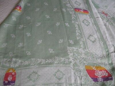 Vintage Minty Depression Green Double Damask Tablecloth w/12 Naps-Roses-Floral