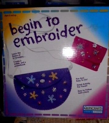 NEW Quincrafts Begin to embroider learn to create wallet pocketbook Craft Kit 8+