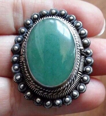 Mexican Taxco Vtg Ss  Aventurine Secret Poison Compartment Brooch / Necklace