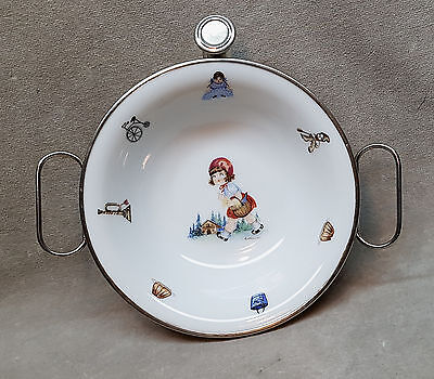 Vintage Porcelain Baby Child's Dish with Silverplated Attached Warmer.