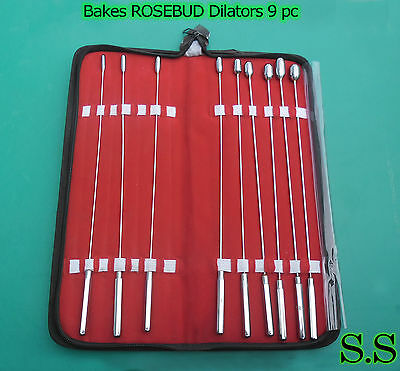 BAKES RoseBud Urethral Sounds DILATOR SET Surgical set of 9 Stainless Steel