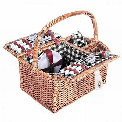 NEW 4 Person Outdoor Harvest Picnic Quality Willow Brown Basket Set with Blanket