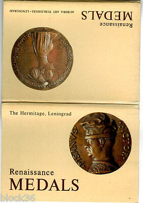 RENAISSANCE MEDALS set of 16 cards in folder, Hermitage museum. Engl / Russ