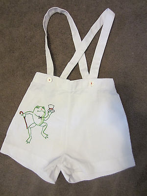 1950s childs white overall long strap shorts embroidered froggy courtin' sz 2-3