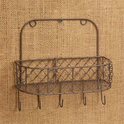 Rustic Chicken Wire Wall Basket Key Holder Letter Holder Primitive Farmhouse