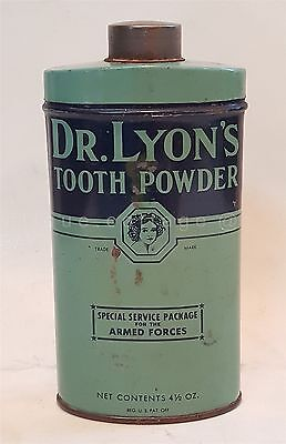 antique DR. LYON'S TOOTH POWDER TIN w CONTENT armed forces special service pkg