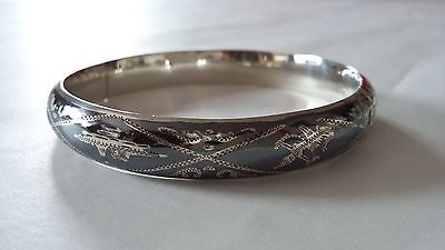 Vintage 1950s Siam Niello Sterling Silver Nielloware Bangle Bracelet