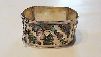 Vintage 50s Mexican Abalone Paua Inlaid Sterling Silver Aztec Panel Bracelet