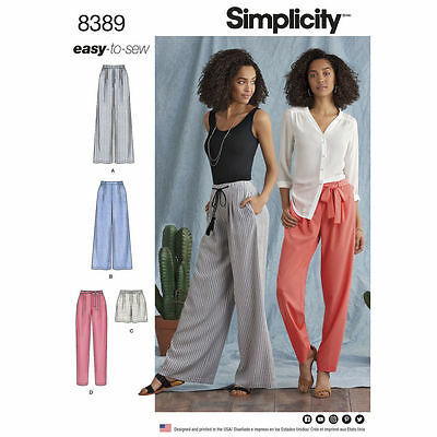 SIMPLICITY EASY SEWING PATTERN 8389 Misses Trousers,Shorts,Tie Belt