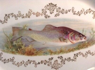 "Antique Fish Serving Set-1 Platter-6 Plates ""mignon"" Z.s.& Co. Bavaria Gold Dec"