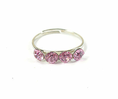 Pink Cubic Zirconia Toe Ring Cz Crystal Silver Coloured Adjustable Summer