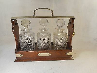 Antique 3 Glass Decanter Oak Tantalus ref 3055