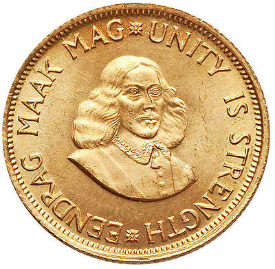 1967 Gold South Africa 2 Rand Jan Van Riebeeck Coin Minted: 10,000 Uncirculated+