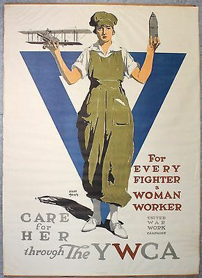 "Vintage Original WWI Poster YWCA For Every Fighter A Woman Worker  29 1/2"" x 41"""