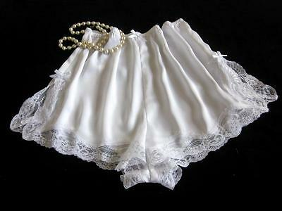 Lacy White Satin French Knickers All Sizes Silky Drapey Panties Vintage Style