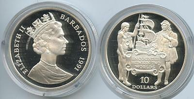 G0016 - Barbados 10 Dollars 1991 KM#52 Silber PROOF Discovery of America