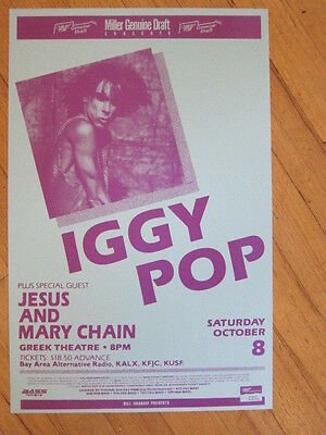 IGGY POP Jesus and Mary Chain Greek Theatre poster 11x17 1988