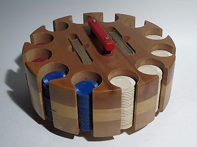 VINTAGE 1940's 1950's WOOD & BAKELITE POKER CHIP CADDY CAROUSEL w/CHIPS & COVER